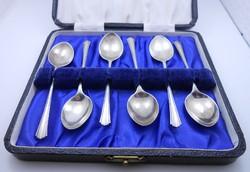 Régi angol ezüst mokkáskanál készlet dobozban