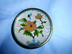 Kínai Rekesz zománc  (Cloissoné)  antik tál 10,5 cm