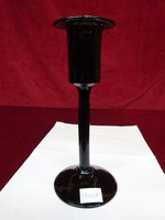 Gyertyatartó színes fújt üveg, kézi készítésű, bordó, zöld színben játszik, 19 cm magas.