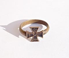 1915-ös vaskeresztes réz gyűrű