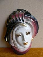 Porcelán velencei maszk, falidísz