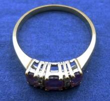 Elegáns aranygyűrű ametiszt és gyémánt kövekkel arany gyűrű