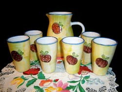 6 személyes Hódmezővásárhelyi kézzel festett alma mintás kerámia majolika boros vagy vizes készlet