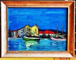 HAÁLA Gyula (1894-1948) festmény, Kikötő (Balaton), 1936., olaj karton