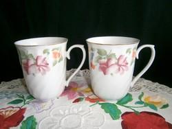 2 db szép, jelzett porcelán teás bögre, csésze virág mintával