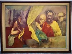 Császár Attila (1951 - 2002) Zsuzsanna és a Vének c.olajfestménye 85x62cm EREDETI GARANCIÁVAL !!