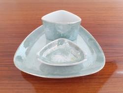 Retro Hollóházi cigis dohányzó készlet zöld porcelán dohánytartó hamutartó 3 db
