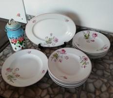 Gyönyörű 14 db-os virágos étkészlet, porcelán, Gyűjtői darabok, tányér, pecsenyés, nosztalgia