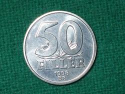 50 Fillér 1998 ! Csak 7000 db. !!! Nem Volt Forgalomban ! Verdefényes !