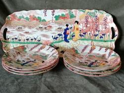 Viktória porcelán süteményes készlet