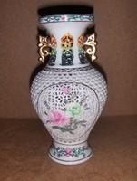 Kínai porcelán áttört mintás váza 20 cm (6/d)