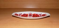 Hollóházi porcelán kínáló vagy  ékszertartó tálka szűrmintával 8,5*19,5 cm (9/d)