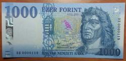 1000 Forint 2017 - DH 0000119 - UNC - Alacsony sorszám