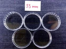5 db 33 mm-es érmetartó kapszula (id16400)