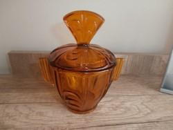 Art deco borostyán színű bonbonier