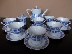 Régi elegáns Hollóházi porcelán komplett  teáskészlet 6 személyre