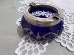 Ezüst peremű király kék kristály hamutartó