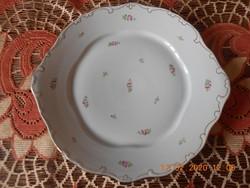 Hollóházi porcelán süteményes tál, kézzel festett