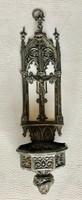 Antik lenyűgöző Neogótikus ezüst 13 latos Szenteltvíztartó 1854.  Bécs RITKA