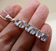 Szépséges akvamarin köves ezüstnyaklánc