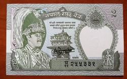 Nepál 2 Rupia UNC 1981