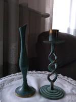 Kézi készítés bronz virág váza gyertyatartóval