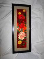 Kerámia falikép - keretezett csempekép-  virágok
