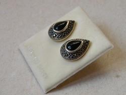 KK642 Elegáns markazit köves ezüst fülbevaló 925