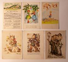 6 db motívum-üdvözlőlap, 1950-60-as évek: ének, zene, ünnepek, főként német kiad., postatiszta is