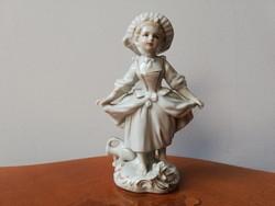 Sitzendorf barokk kishölgy rózsával, antik kézzel festett jelzett porcelán