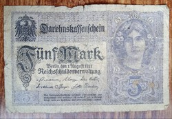 Gyengébb Inflációs 5 márka 1917. bankjegy