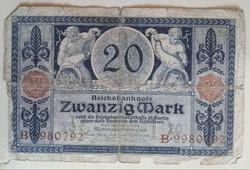 Gyengébb Inflációs 20 márka 1916.bankjegy