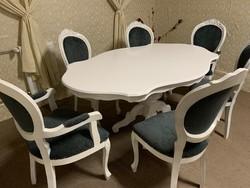 Shabby Chich Neobarokk étkező szett 6 db székkel Új kárpittal! Üveglappal!