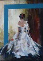 A Nő - Piros rózsával című festmény