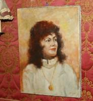 Portré festmény szignózott vászon
