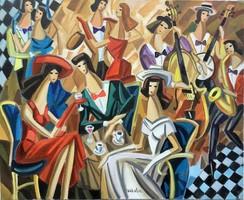 Csodálatos színekkel megfestett ART DECO Samuel Veksler festmény