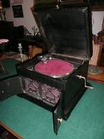 Igazi ritkaság! Fa dobozos, nyitható hangszóróajtós antik szecessziós gramofon kompletten
