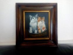 Cicák kosárban -olaj festmény
