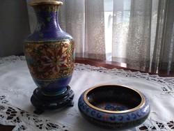 Rekeszzománc,cloisonne, kínai váza és tálka