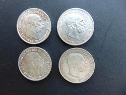 4 darab osztrák 2 korona LOT !! Szép ezüstök