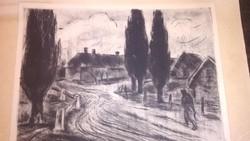 Iván Szilárd: Eső után - grafika, rajz