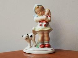 Kislány babával, cicával, antik kézzel festett jelzett porcelán sorszámozott gyűjtői darab