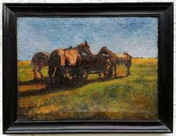 Pihenő lovak a kocsinál... 1920 korül, Vörös szignóval !