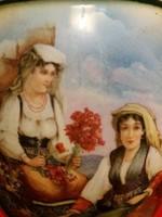Antik 19 sz.gyönyörű ritka jelenetes Alt wien porcelán kancsó  22  cm