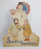 Antik Szerencsi bonbon reklámtábla akvarell festéssel