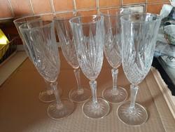 Ólomkristály metszett, talpas, pezsgőspohár (6 darabos) készlet