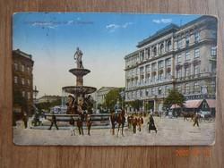 Régi képeslap: Budapest, Kálvin-tér a Danubius-kúttal, 1916