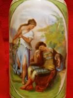 Antik gyönyörű Alt wien barokkjelenetes Art Nouevu porcelán váza 20  cm