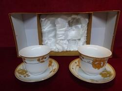 Jamasen japán porcelán teáscsésze + alátét, két darabos, díszdobozban.