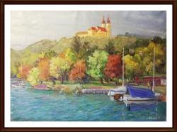 Oszoli Piroska - Tihany  ( csodálatos olaj-vászon festmény, 50 x 70, keret nélkül )